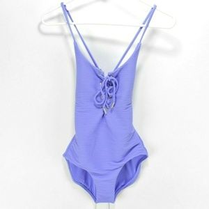 Red Carter Purple Textured Lace-Up Swimsuit Size S